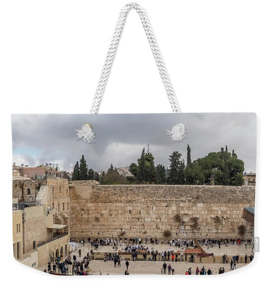 Panoramic View Of The Wailing Wall In The Old City Of Jerusalem Weekender Tote Bag