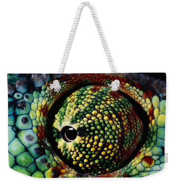 Panther Chameleon Eye Weekender Tote Bag