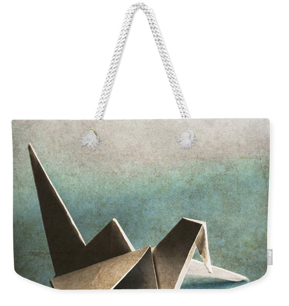 Paper Bird On Abstract Background Weekender Tote Bag
