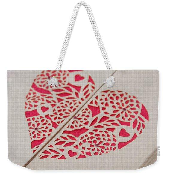 Paper Cut Heart Weekender Tote Bag