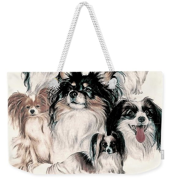 Weekender Tote Bag featuring the mixed media Papillon And Phalene Collage by Barbara Keith