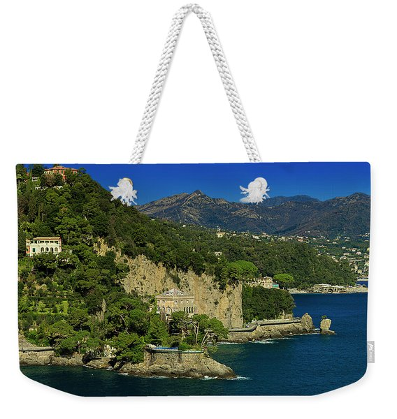 Paraggi Bay Castle And Liguria Mountains Portofino Park  Weekender Tote Bag