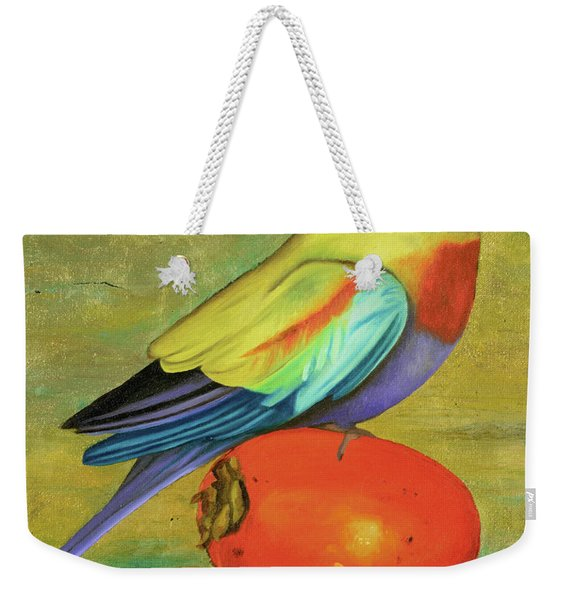 Parakeet On A Persimmon Weekender Tote Bag