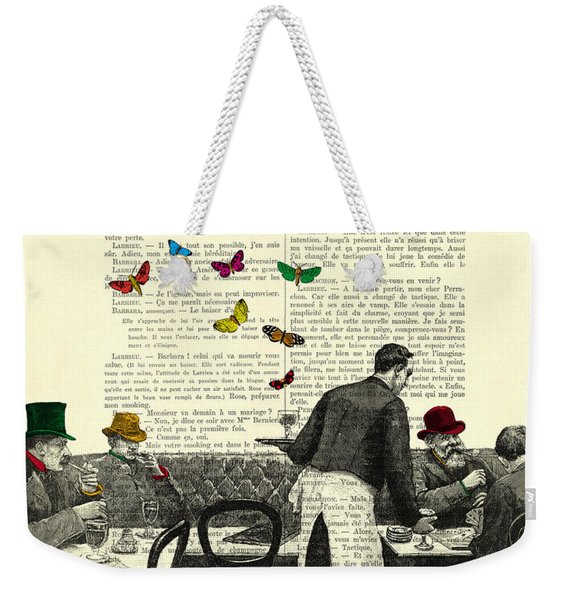 Inside Of A French Bistro At Paris And Rainbow Butterflies Weekender Tote Bag