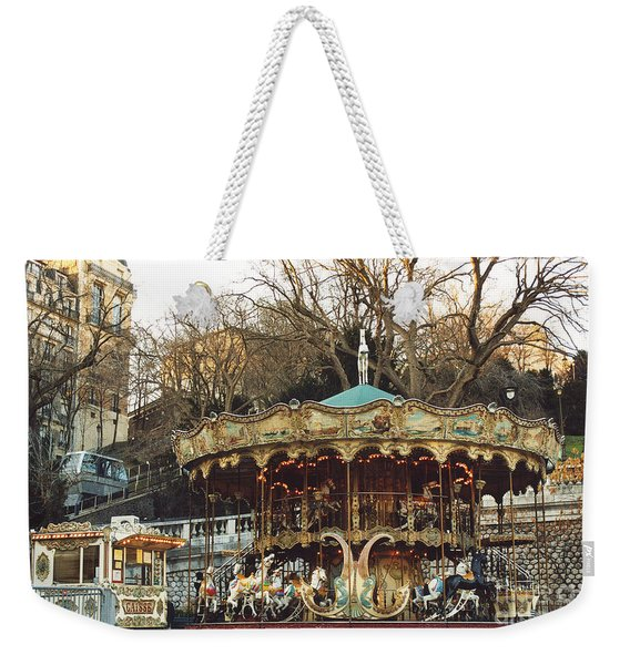 Paris Carousel At Montmartre - Sacre Coeur Cathedral Carousel Merry Go Round  Weekender Tote Bag