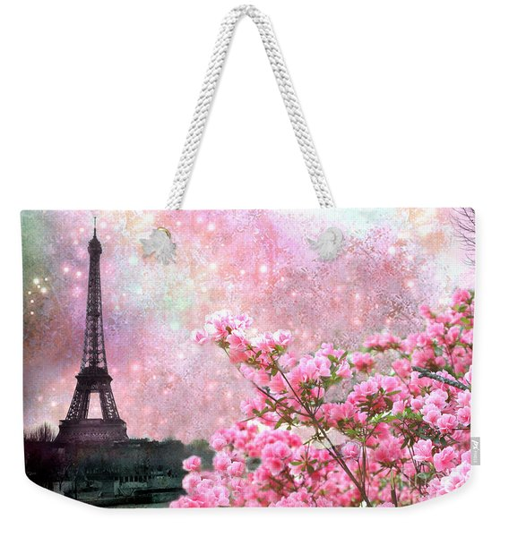 Paris Eiffel Tower Cherry Blossoms - Paris Spring Eiffel Tower Pink Cherry Blossoms  Weekender Tote Bag