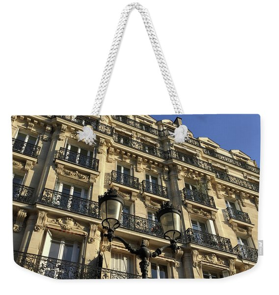 Weekender Tote Bag featuring the photograph Paris Facades by Frank DiMarco