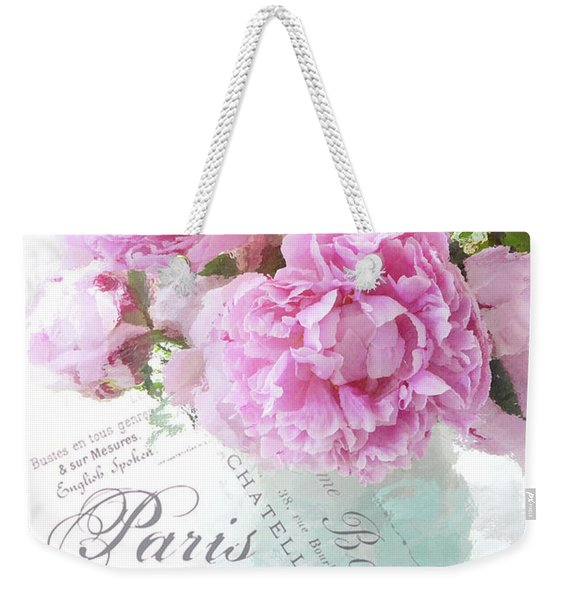 Paris Peonies Impressionistic Romantic Peony Peonies French Script Shabby Chic Decor Weekender Tote Bag