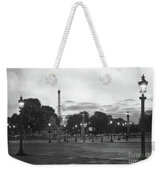Paris Place De La Concorde Lights - Paris Black And White Photography Night Lights  Weekender Tote Bag