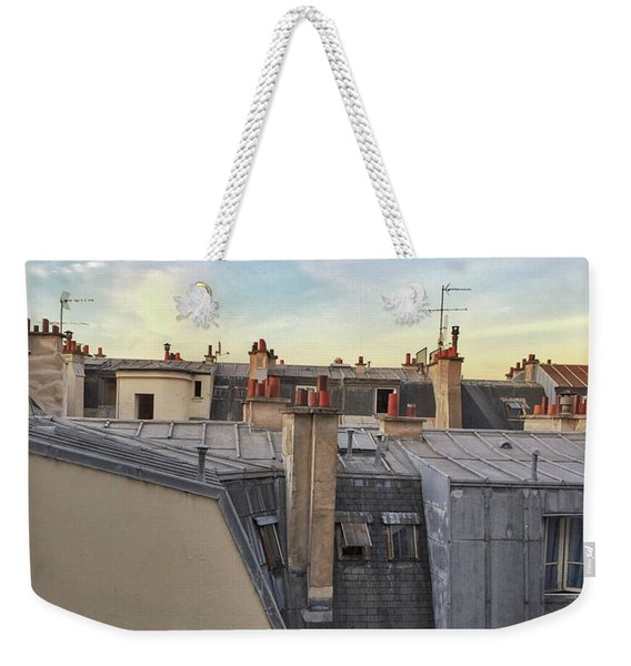 Weekender Tote Bag featuring the photograph Paris Rooftop Pigeon by Frank DiMarco