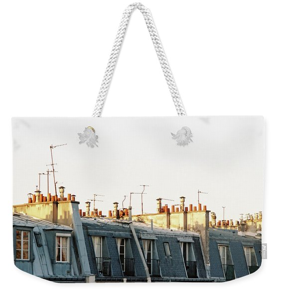 Weekender Tote Bag featuring the photograph Paris Rooftops by Frank DiMarco