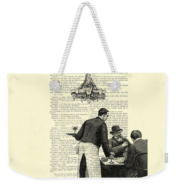 Paris Scene Black And White Weekender Tote Bag