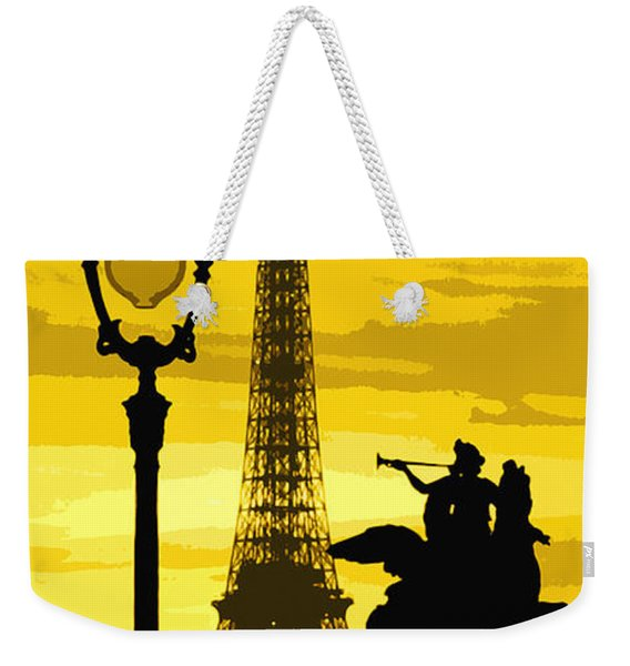 Paris Tour Eiffel Yellow Weekender Tote Bag