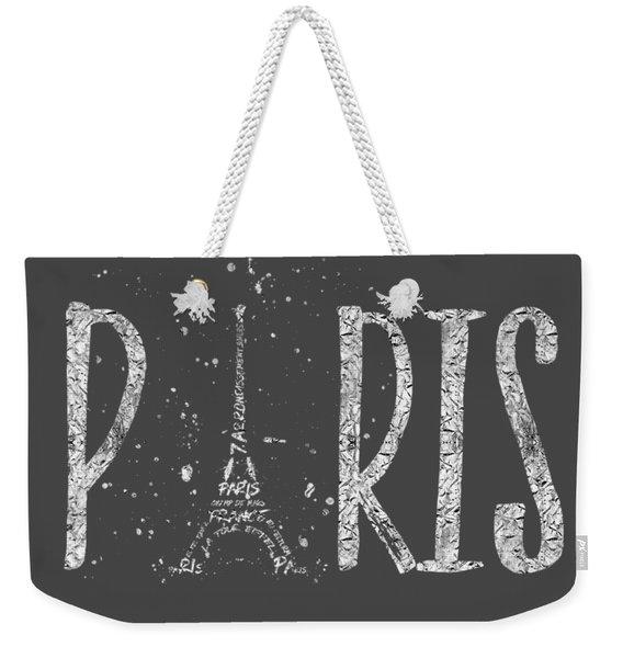 Paris Typography - Grey - Silver Splashes Weekender Tote Bag