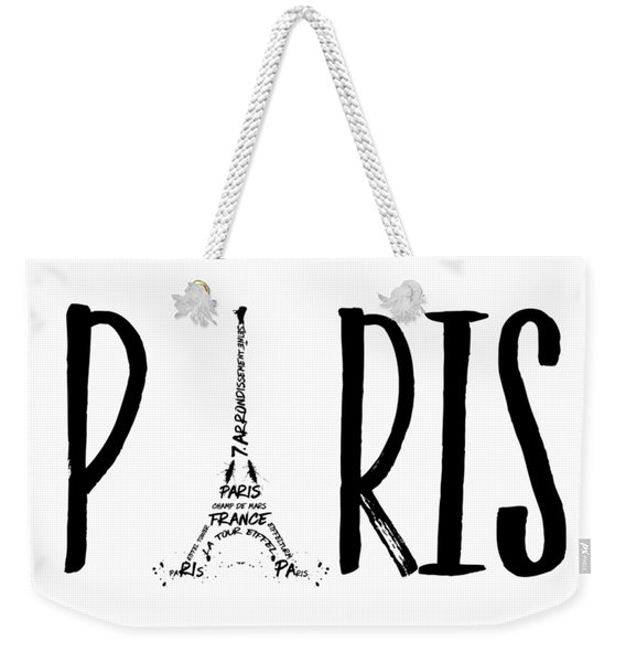 Paris Typography Weekender Tote Bag