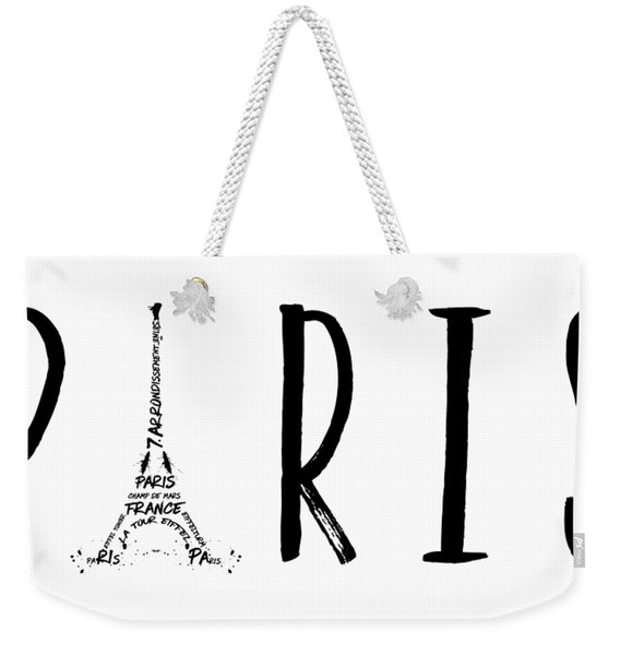 Paris Typography Panoramic Weekender Tote Bag