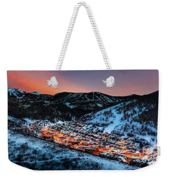 Park City Winter Sunset Weekender Tote Bag