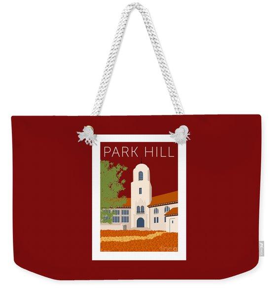 Weekender Tote Bag featuring the digital art Park Hill Maroon by Sam Brennan
