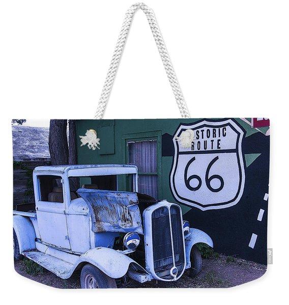 Parked Blue Truck Weekender Tote Bag