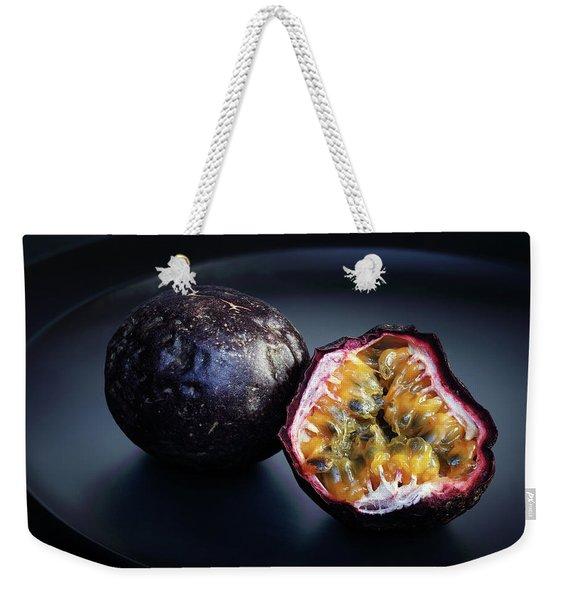 Passion Fruit On Black Plate Weekender Tote Bag