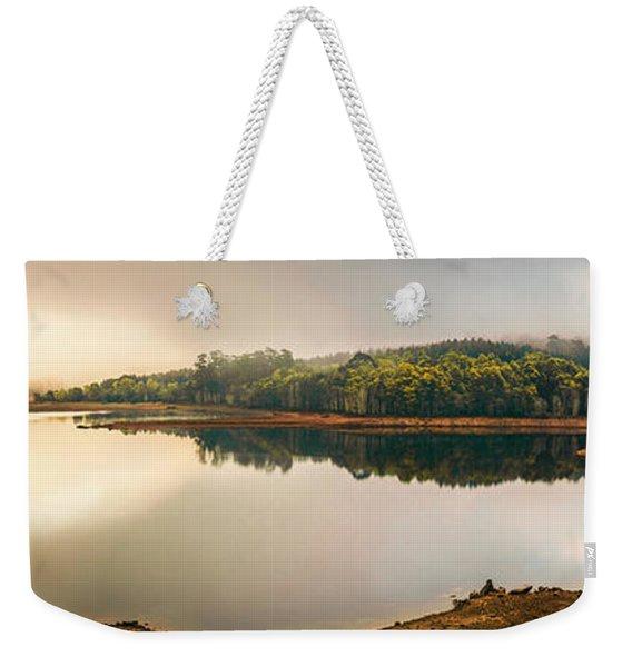 Pastel Lake Panorama Weekender Tote Bag