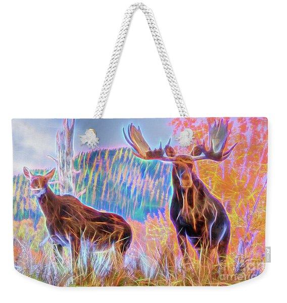 Pastel Moose Couple Weekender Tote Bag