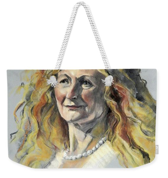 Pastel Portrait Of Woman With Frizzy Hair Weekender Tote Bag