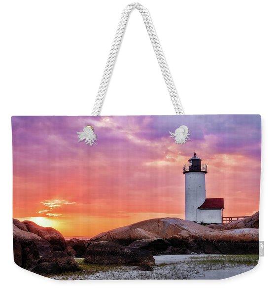 Pastel Sunset, Annisquam Lighthouse Weekender Tote Bag