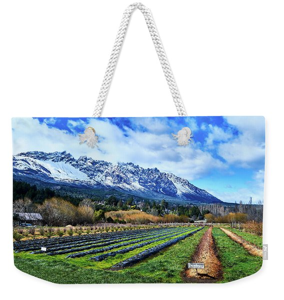 Landscape With Mountains And Farmlands In The Argentine Patagonia Weekender Tote Bag