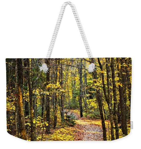 Path In Fall Forest Weekender Tote Bag