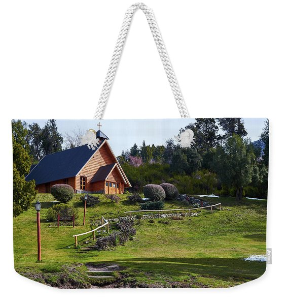 Rustic Church Surrounded By Trees In The Argentine Patagonia Weekender Tote Bag