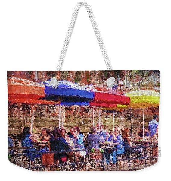 Patio At The Riverwalk Weekender Tote Bag