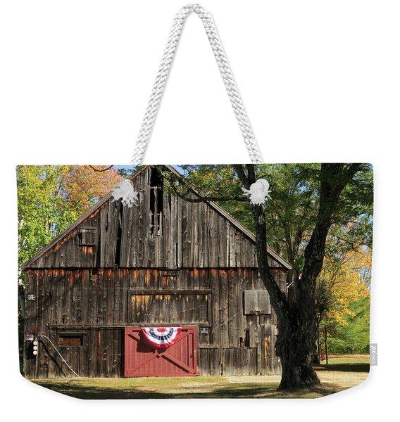 Weekender Tote Bag featuring the photograph Patriotic Barn by Nancy De Flon