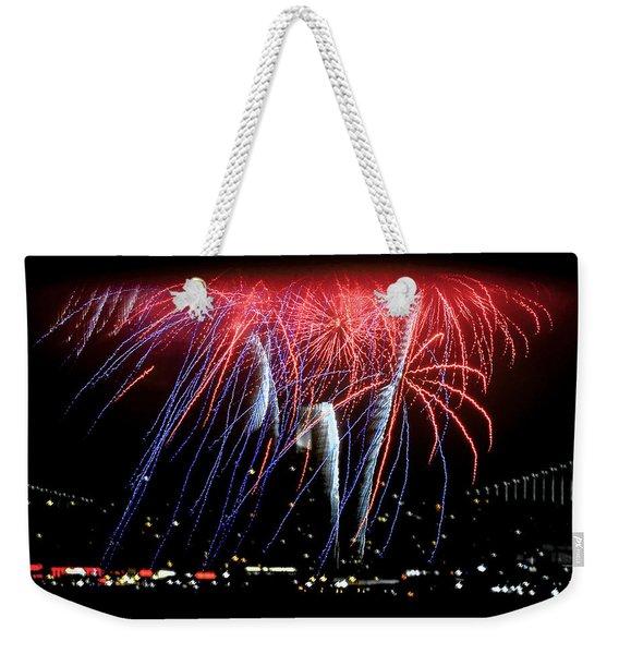 Patriotic Fireworks S F Bay Weekender Tote Bag