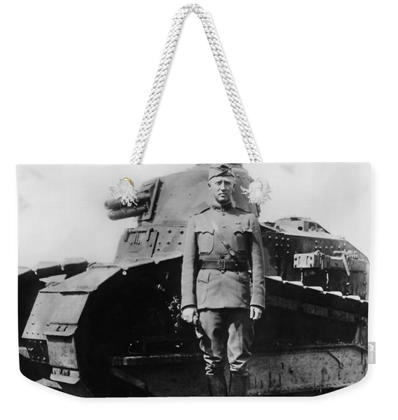 Patton Beside A Renault Tank - Wwi Weekender Tote Bag