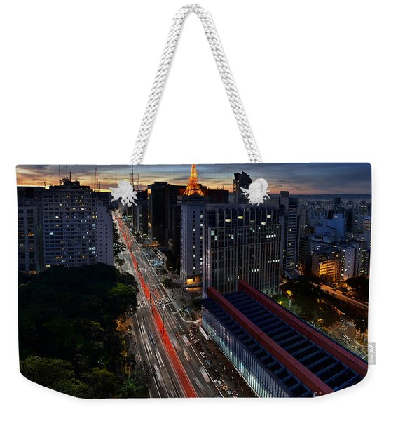 Paulista Avenue And Masp At Dusk - Sao Paulo - Brazil Weekender Tote Bag