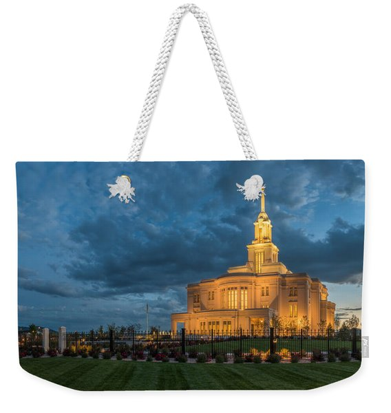 Payson Temple Panorama Weekender Tote Bag