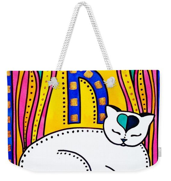 Peace And Love - Cat Art By Dora Hathazi Mendes Weekender Tote Bag