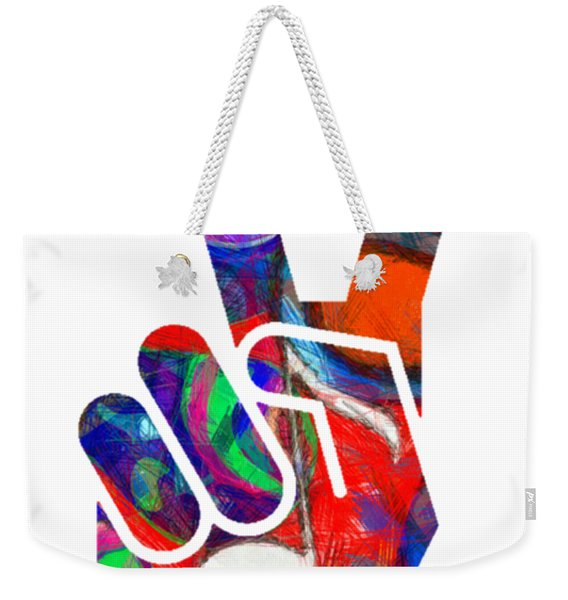 Peace Hippy Paint Hand Sign Weekender Tote Bag