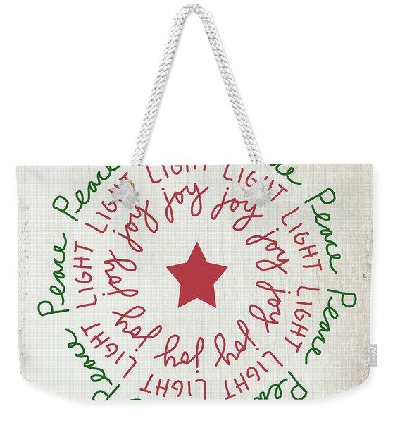 Peace Light Joy Wreath- Art By Linda Woods Weekender Tote Bag