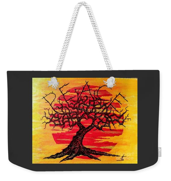 Weekender Tote Bag featuring the drawing Peace Love Tree by Aaron Bombalicki