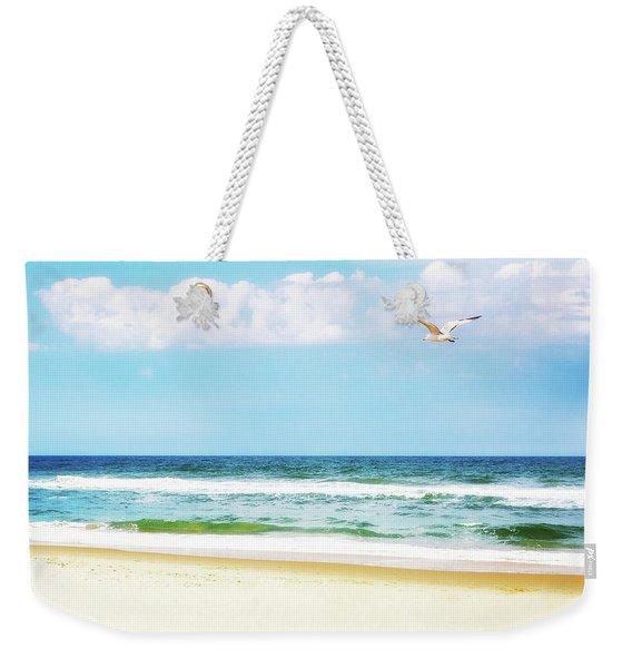 Peaceful Beach With Seagull Soaring Weekender Tote Bag