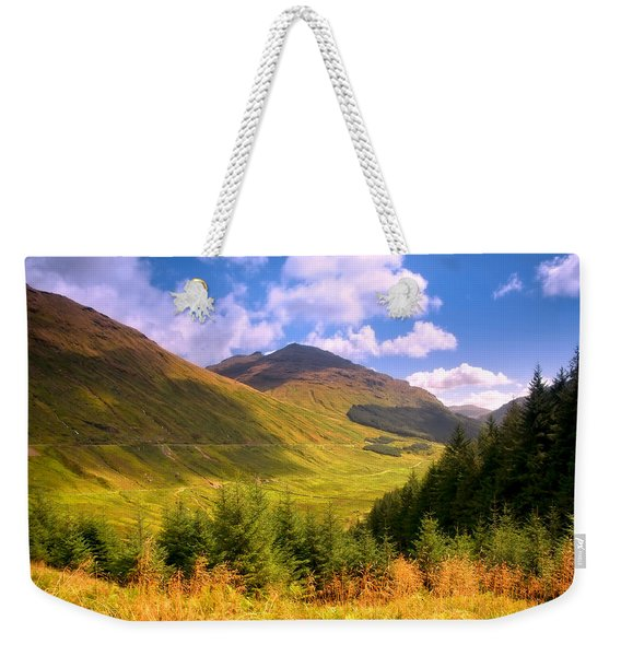 Peaceful Sunny Day In Mountains. Rest And Be Thankful. Scotland Weekender Tote Bag