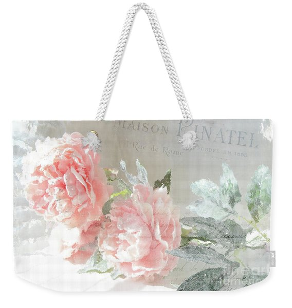 Peach Peonies Impressionistic Peony Floral Prints - French Impressionistic Peach Peony Prints Weekender Tote Bag