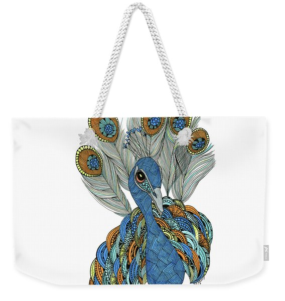 Weekender Tote Bag featuring the drawing Peacock by Barbara McConoughey