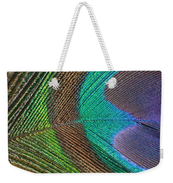 Peacock Feather Close Up Weekender Tote Bag