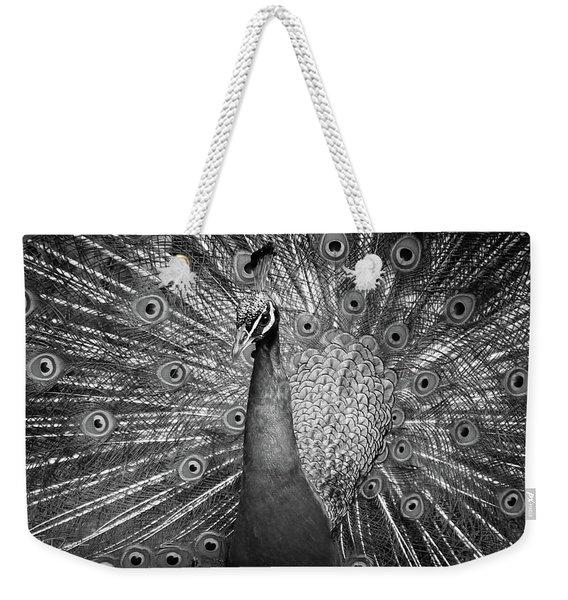 Peacock In Black And White Weekender Tote Bag