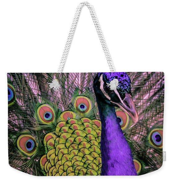 Peacock In Purple 2 Weekender Tote Bag