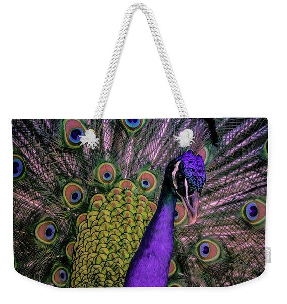 Peacock In Purple Weekender Tote Bag