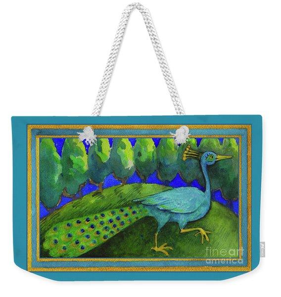 Weekender Tote Bag featuring the painting Peacock  by Lora Serra